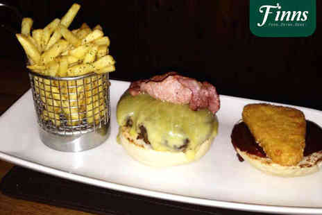 Finns at Ringwood - Choice of Burger and Unlimited Fries with Glass of Wine Each for Two - Save 52%