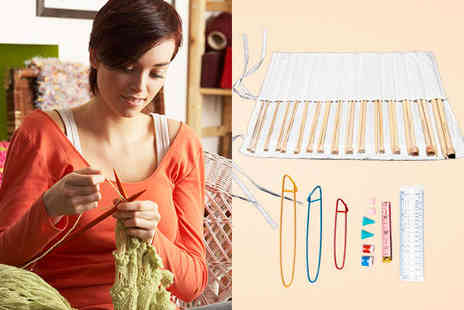 Curtzy - 16 Pair Knitting Needle Set with Cotton Case Stitch Holders Measuring Tape Needle Size Gauge - Save 63%