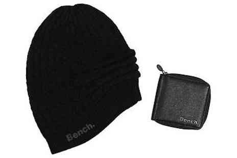 benchclothing - Bench Mens Kicks Beanie Hat and Faux Leather Wallet Gift Set - Save 35%