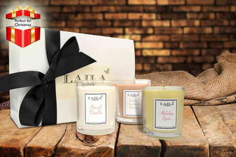 Laila London - Three piece Christmas scented candle gift set - Save 57%