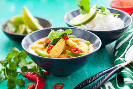 Thai Erawan - Thai meal for 2 including a main side and glass of wine - Save 65%