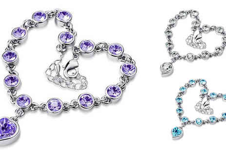 Her Fashion Shop - 18k white gold plated heart bracelet bejewelled with Austrian crystals - Save 80%