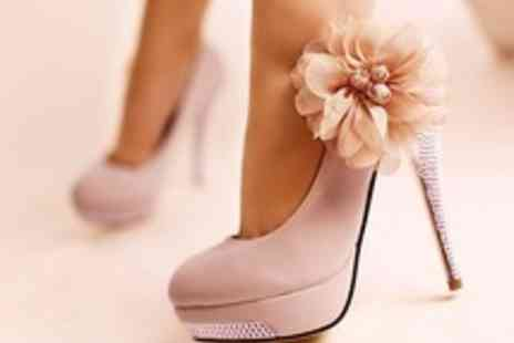 Londeal UK - Diamante Trim Flower Design Platform Heels - Save 60%