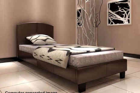 Furniture Detail - Single Apollo Bed in Brown White or Pink - Save 75%