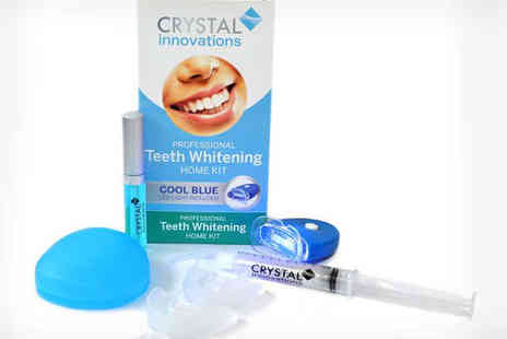 Crystal Innovations - Home Teeth Whitening Kit with Whitening Gel Stain Remover, LED Light Gum Tray and Storage Box and Applicator Tip - Save 86%