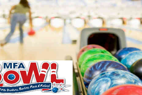 White Pin - Two games of bowling and hot dogs or chips for two people - Save 38%