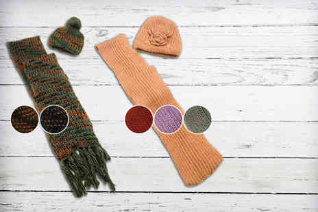 Leila Eve - Matching winter hat and scarf set in a choice of 5 styles - Save 64%