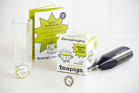 Teapigs - Teapigs Matcha Green Tea Set Including Matcha Green Tea Powder Shot Glass and Electric Whisk - Save 50%