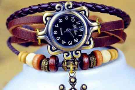 Jewel 2 Sell - Genuine leather vintage watch in a choice of colours - Save 86%