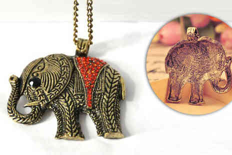 bag a bargain - Vintage styled elephant charm necklace  - Save 96%