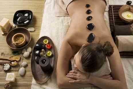 Brown Cow Salon - Back neck and shoulder hot stone massage with a facial and a scalp massage - Save 72%