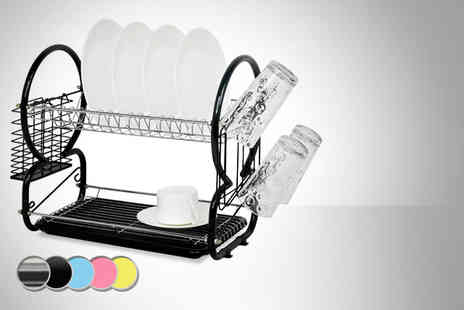 SQ Professional - Two tier dish drainer with cutlery rack in a choice of colours - Save 40%