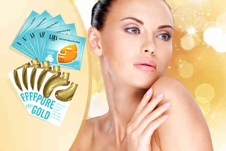 i BEAUTY FIX Retail - 5x gold face & eye masks 5x snail collagen face & eye masks or 10x silk protein masks  - Save 86%