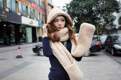 WEKSI - Three in one ladies beige fleece scarf - Save 50%