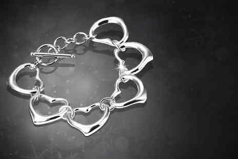 Suga Rush Love - 925 silver plated heart links bracelet - Save 86%