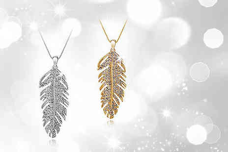 Moonshine Boutique - Gold plated or white gold-plated crystal feather pendant - Save 88%