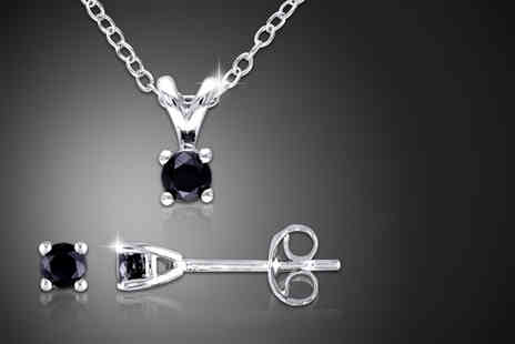 Blue River Group - Black diamond solitaire duo set including a pendant and earrings - Save 87%