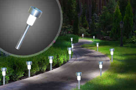 Kingfisher - 12 stainless steel solar garden lights - Save 68%
