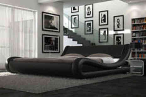 italiandesignerbeds - Stunning Modern Designer Bed Double or King Size Leather Bed plus Memory Mattress - Save 84%