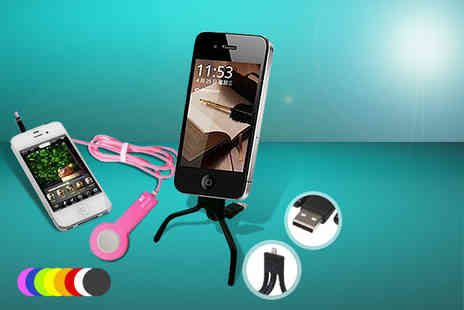 Links 4 - Remote control selfie iPhone camera cable and an iPhone 4/ 4S/ 5/5S /5C tristand cable - Save 74%