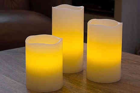Bazaared - Set of Three Flameless LED Candles with Colour Changing Remote - Save 76%