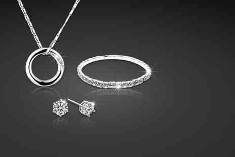 Simply 18K - Swarovski Elements full circle tri set including a pendant bracelet and stud earrings - Save 83%