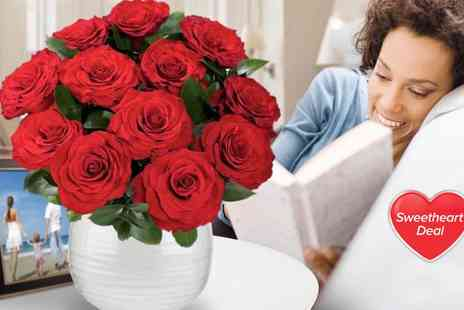 Order Flowers - 12 luxury red roses Valentines bouquet - Save 37%