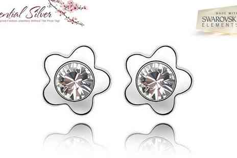 Essential Silver - Platinum Plated Blossom Flower Set - Save 90%