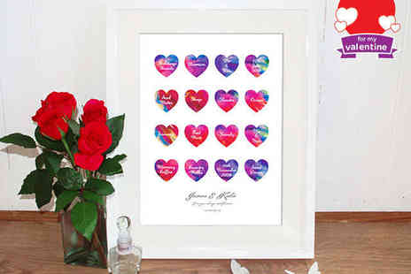 Treasure on the Wall - Framed Personalised Watercolour Love Hearts Print - Save 59%
