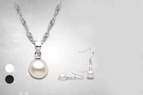The Gem Seller - Black or white pearl necklace and earrings set - Save 77%