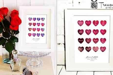 Treasure on the Wall - Personalised Watercolour Love Hearts - Save 50%