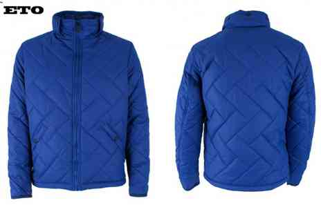 Raw Indigo - ETO Mens Designer Blue Quilted Double Collar Jacket - Save 44%