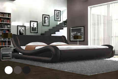 Furniture Detail - Galaxy faux leather double bed - Save 75%