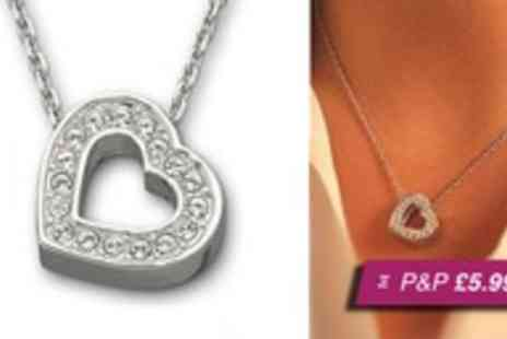 Moonshine Boutique - White gold & crystal sparkle heart pendant - Save 96%