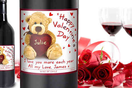 Something Great Limited - Personalised teddy red wine with your loved one's name and a short message from you- Save 50%