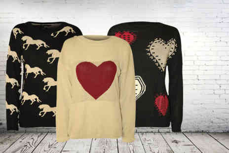 Wearall - Choice of horse or heart print knitted jumpers - Save 56%