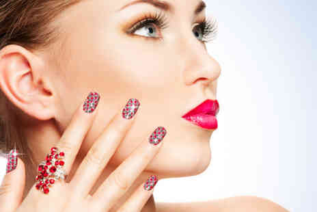 Millicents Hair and Beauty - Shellac Bling manicure with diamante decoration and sequins - Save 70%