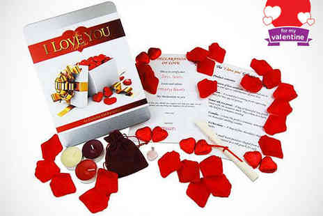 Crowther Creative - I Love You Gift Box Containing Pendant Scented Candles Chocolates and Rose Petals - Save 50%