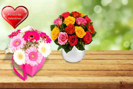 Order Flowers - Pretty in Pink' gift bag or Mixed Roses bouquet - Save 63%