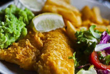 Bishops - Fish and Chips with Choice of Side and Tea Coffee or Soft Drink to Eat In for Two - Save 51%