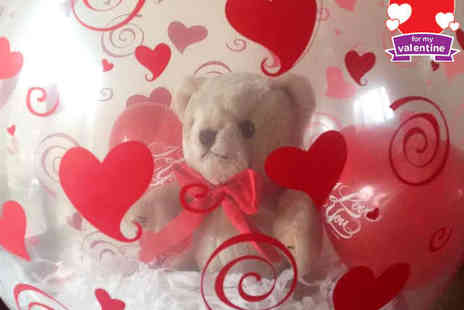The Party Shack - Soft Teddy Bear inside a Valentines Themed Balloon of Your Choice, Delivery Included for Both Options - Save 50%