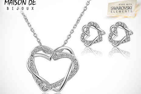 Maison de Bijoux - Heart Shaped Pendant and Earring Set with Swarovski Elements - Save 79%
