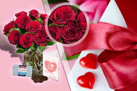 Colonial - Bouquet of red roses box of chocolates & a personalised Valentines card  - Save 58%