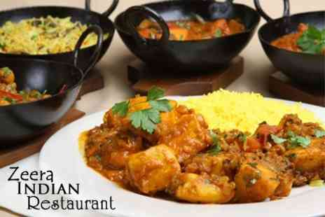 Zeera Indian Restaurant - Two Course Indian Meal For Two Plus Beer or Wine - Save 62%