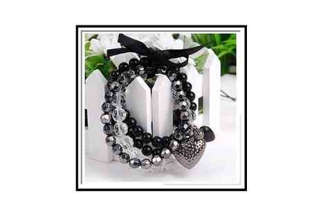 Mega Deals - Crystal Beaded Strand Bracelet with Feature Heart Pendant - Save 63%