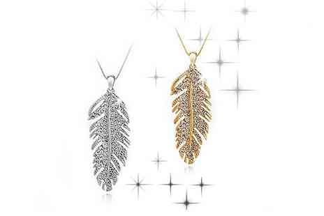 Mega Deals - Gold Plated Shimmering Feather Pendant - Save 89%