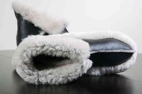 Sheepys - Pair of Sheepskin Slippers in Brown Suede or Black Leather - Save 68%