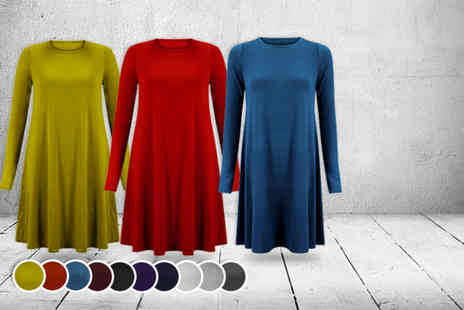 Karma Clothing - Long-sleeved swing dress in a choice of 10 colours - Save 53%
