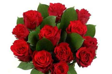 Flowers & Hampers Direct - Dozen Red Roses With Named Delivery Date and Personalised Message  - Save 46%