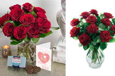 iflorist - 12 Red Roses Chocolates & Valentines Card - Save 58%